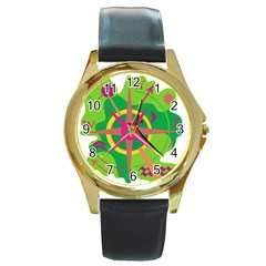 Green Navigation Round Gold Metal Watch by Valentinaart