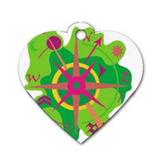 Green Navigation Dog Tag Heart (one Side) by Valentinaart