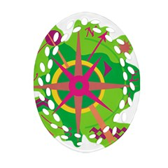 Green Navigation Oval Filigree Ornament (2 Side)  by Valentinaart