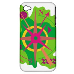 Green Navigation Apple Iphone 4/4s Hardshell Case (pc+silicone) by Valentinaart