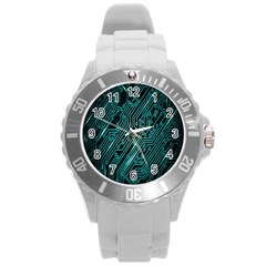 Magnet Element Round Plastic Sport Watch (l)