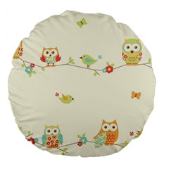 Owl Butterfly Bird Large 18  Premium Round Cushions