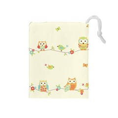 Owl Butterfly Bird Drawstring Pouches (medium)  by AnjaniArt