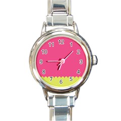Pink Yellow Round Italian Charm Watch by AnjaniArt