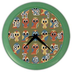 Owl Pattern Illustrator Color Wall Clocks by AnjaniArt
