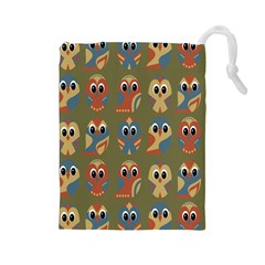 Owl Pattern Illustrator Drawstring Pouches (large)  by AnjaniArt