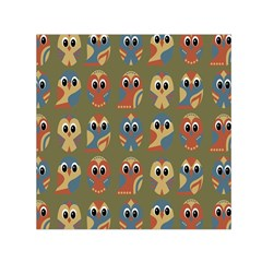 Owl Pattern Illustrator Small Satin Scarf (square) by AnjaniArt
