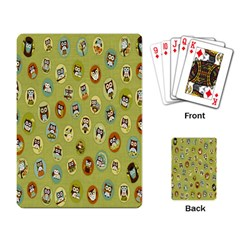 Owl Round Green Playing Card by AnjaniArt