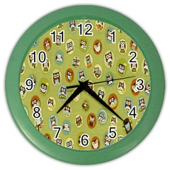 Owl Round Green Color Wall Clocks by AnjaniArt