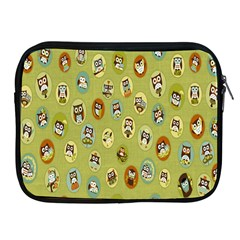 Owl Round Green Apple Ipad 2/3/4 Zipper Cases