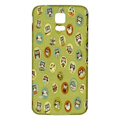 Owl Round Green Samsung Galaxy S5 Back Case (white) by AnjaniArt