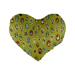 Owl Round Green Standard 16  Premium Flano Heart Shape Cushions by AnjaniArt
