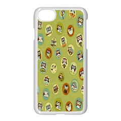 Owl Round Green Apple Iphone 7 Seamless Case (white)