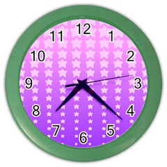 Purple And Pink Stars Color Wall Clocks