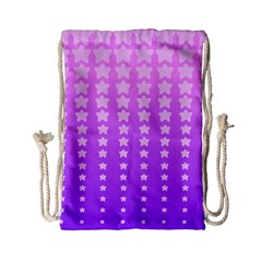 Purple And Pink Stars Drawstring Bag (small) by AnjaniArt