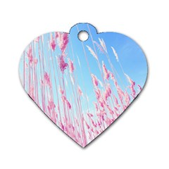 Pink Colour Dog Tag Heart (two Sides) by AnjaniArt
