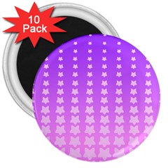 Purple And Pink Stars Line 3  Magnets (10 Pack)