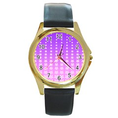 Purple And Pink Stars Line Round Gold Metal Watch by AnjaniArt