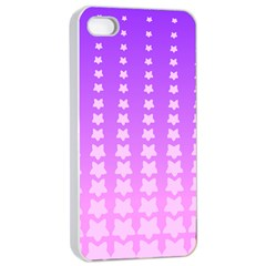 Purple And Pink Stars Line Apple Iphone 4/4s Seamless Case (white) by AnjaniArt