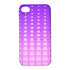 Purple And Pink Stars Line Apple Iphone 4/4s Hardshell Case With Stand by AnjaniArt
