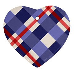 Red And Purple Plaid Ornament (heart)