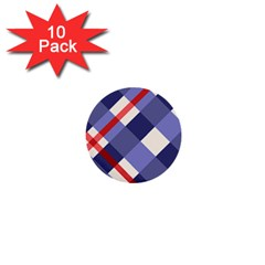 Red And Purple Plaid 1  Mini Buttons (10 Pack)