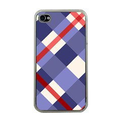 Red And Purple Plaid Apple Iphone 4 Case (clear)
