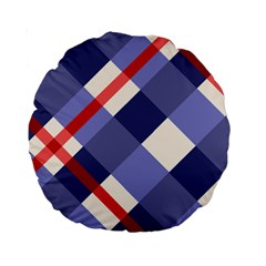 Red And Purple Plaid Standard 15  Premium Round Cushions