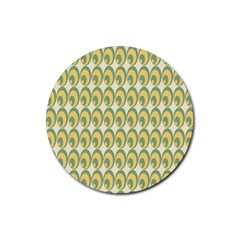 Pattern Circle Green Yellow Rubber Round Coaster (4 Pack)