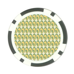 Pattern Circle Green Yellow Poker Chip Card Guards by AnjaniArt