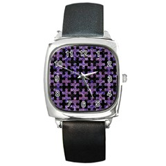 Puzzle1 Black Marble & Purple Marble Square Metal Watch by trendistuff