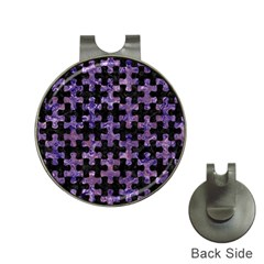 Puzzle1 Black Marble & Purple Marble Golf Ball Marker Hat Clip by trendistuff