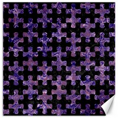 Puzzle1 Black Marble & Purple Marble Canvas 16  X 16  by trendistuff