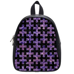 Puzzle1 Black Marble & Purple Marble School Bag (small) by trendistuff