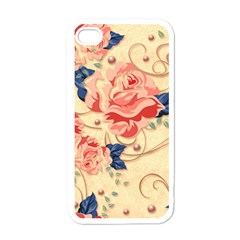 Beautiful Pink Roses Apple Iphone 4 Case (white) by Brittlevirginclothing
