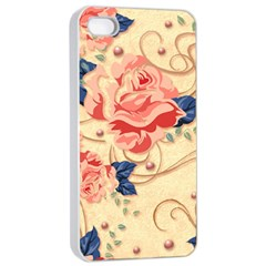 Beautiful Pink Roses Apple Iphone 4/4s Seamless Case (white) by Brittlevirginclothing