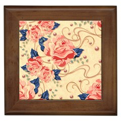 Beautiful Pink Roses Framed Tiles by Brittlevirginclothing