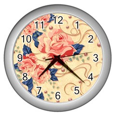 Beautiful Pink Roses Wall Clocks (silver)  by Brittlevirginclothing