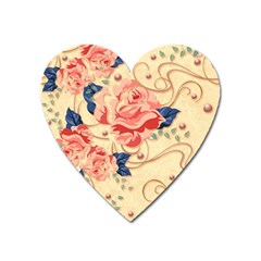 Beautiful Pink Roses Heart Magnet by Brittlevirginclothing