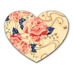 Beautiful Pink Roses Heart Mousepads by Brittlevirginclothing