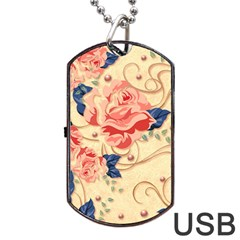 Beautiful Pink Roses Dog Tag Usb Flash (one Side) by Brittlevirginclothing