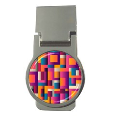 Abstract Background Geometry Blocks Money Clips (round)  by Amaryn4rt