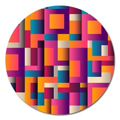 Abstract Background Geometry Blocks Magnet 5  (round) by Amaryn4rt