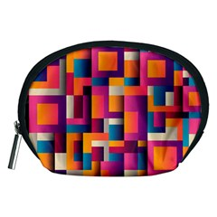 Abstract Background Geometry Blocks Accessory Pouches (medium)  by Amaryn4rt