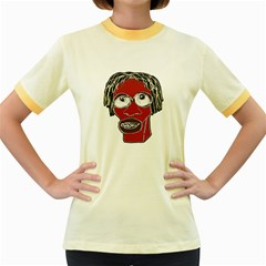Grotesque Man Caricature Illustration Women s Fitted Ringer T-shirts by dflcprints