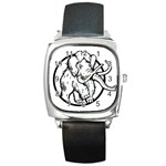 Mammoth Elephant Strong Square Metal Watch Front