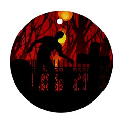 Horror Zombie Ghosts Creepy Ornament (round)  by Amaryn4rt