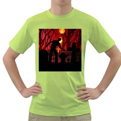 Horror Zombie Ghosts Creepy Green T Shirt by Amaryn4rt