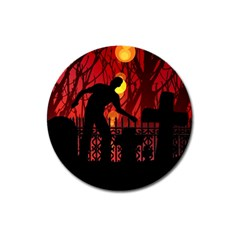 Horror Zombie Ghosts Creepy Magnet 3  (round)