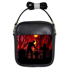 Horror Zombie Ghosts Creepy Girls Sling Bags by Amaryn4rt